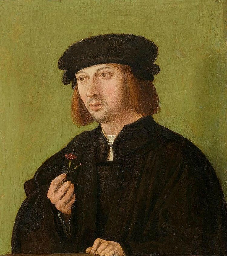 South German Master, circa 1520, Portrait of a young man, holding a carnation