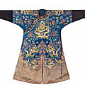 A blue silk court robe, jifu, 19th century