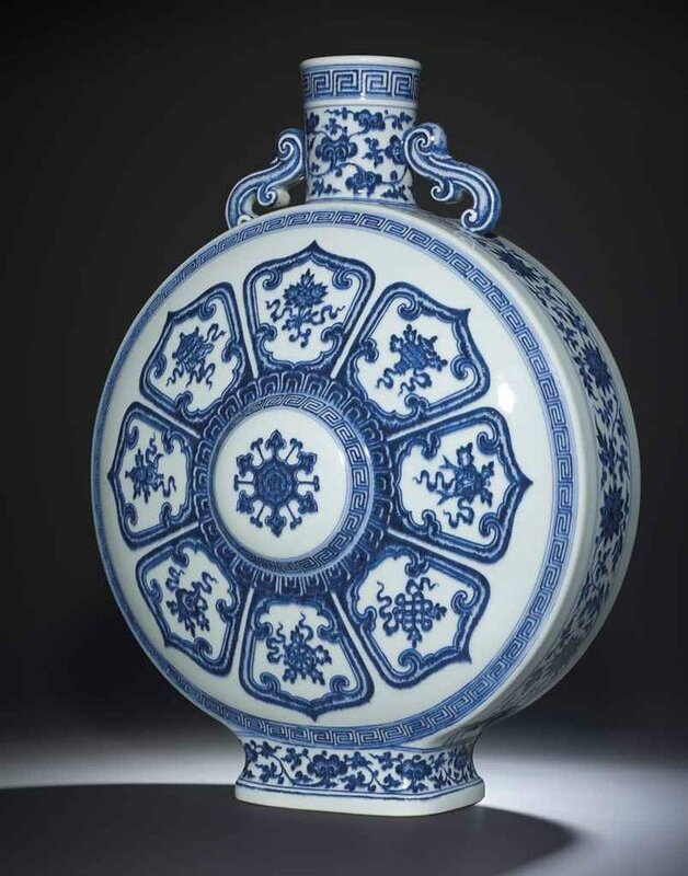 A Superb Blue And White 'Bajixiang' Moonflask, Seal Mark And Period of Qianlong
