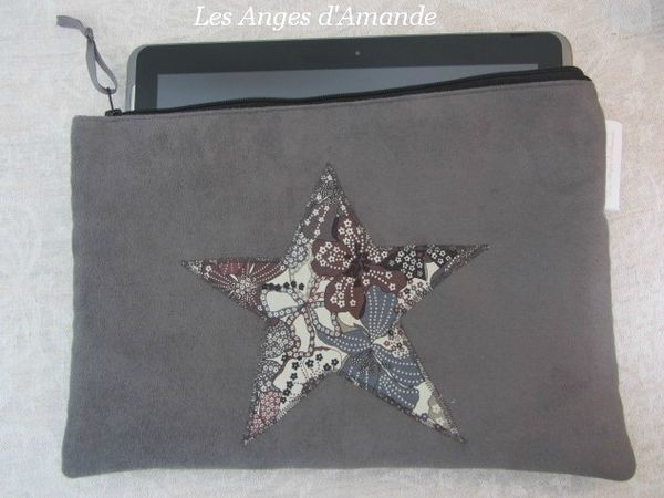 pochette tablette liberty chocolat