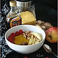 Porridge automnal de polenta (pomme, châtaignes, framboises & sirop d'érable)