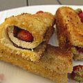 Sandwich roulé à la fraise et au nutella
