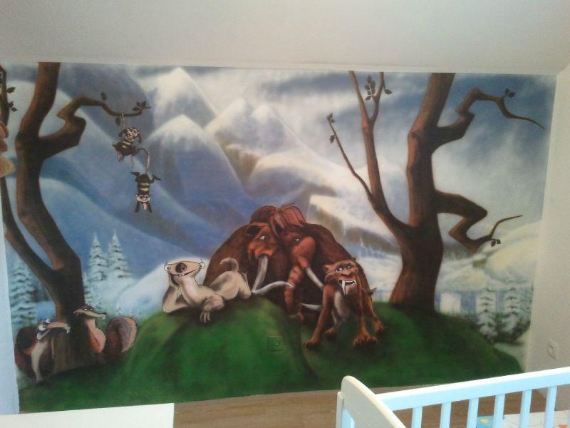 Une peinture murale de l 39 age de glace a ro c dric ink for Differents types de peinture murale