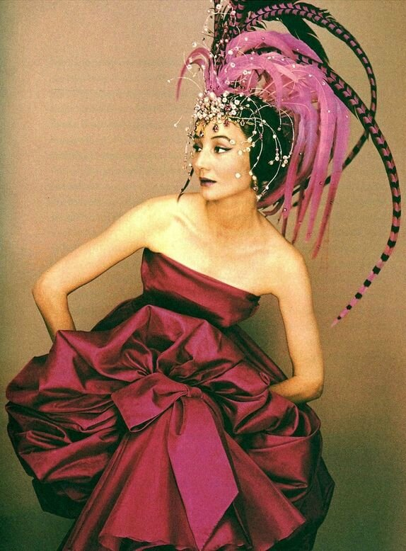 Jacqueline de Ribes in a Dior dress & headdress by Raymundo de Larrain for Alexis de Redé's Bal de Têtes, 1957