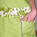 détail poche robe vert anis T40