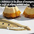 Abricots crémeux à la fleur d'oranger, sabayon au café et olives noires selon pierre augé