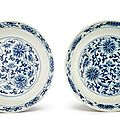 A pair of blue and white 'lotus' dishes, marks and period of tongzhi (1865-1875)