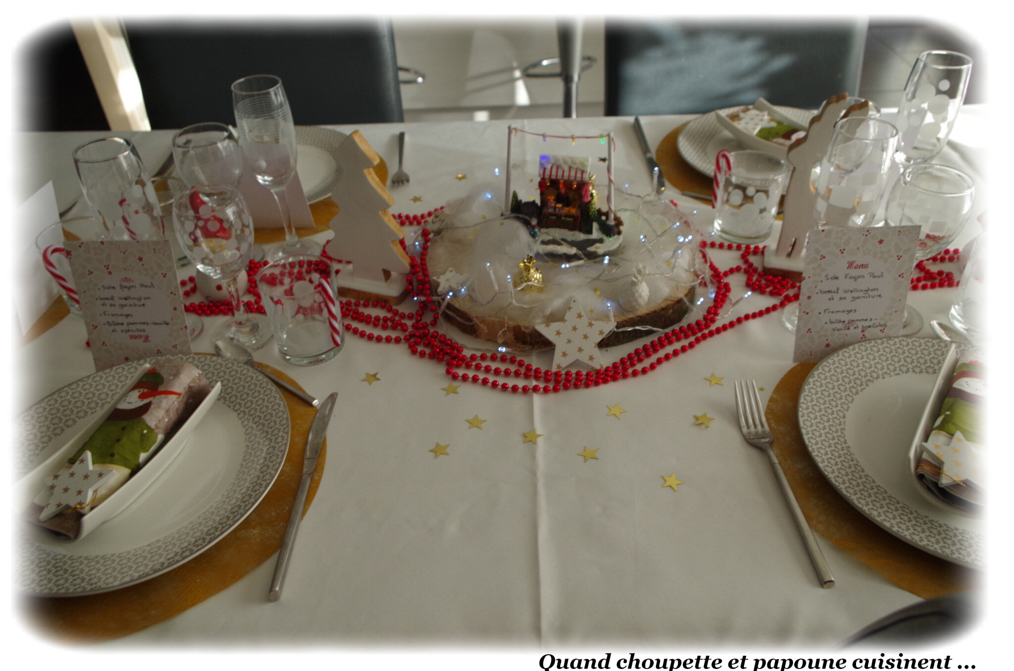 DECORATIONS DE TABLE DU REVEILLON DE NOËL ET DU JOUR