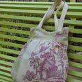 grand sac toile de jouy asiatique