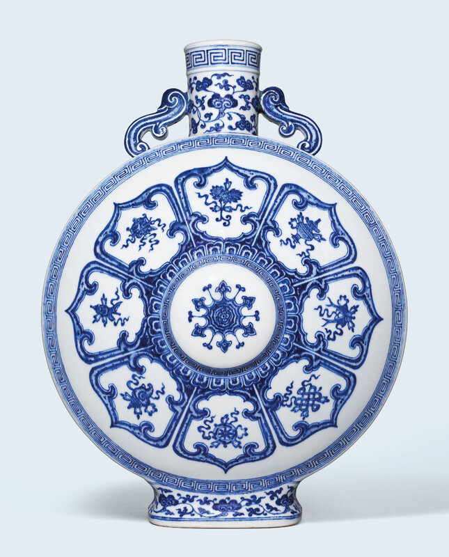A large blue and white 'bajixiang' moonflask, Qianlong six-character seal mark in underglaze blue and of the period (1736-1795)