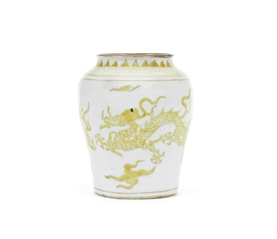 A rare yellow-enamelled 'dragon' jar, guan, Late Ming Dynasty