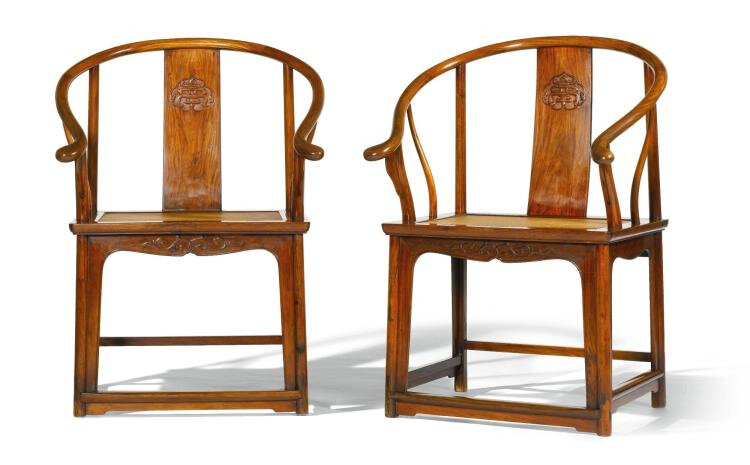 A Pair of Huanghuali Horseshoe-Back Armchairs, Quanyi, Late Ming-Early Qing Dynasty