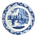 A blue and white dish. Bearing a Jiajing six character mark, but Kangxi. Photo Bonhams.