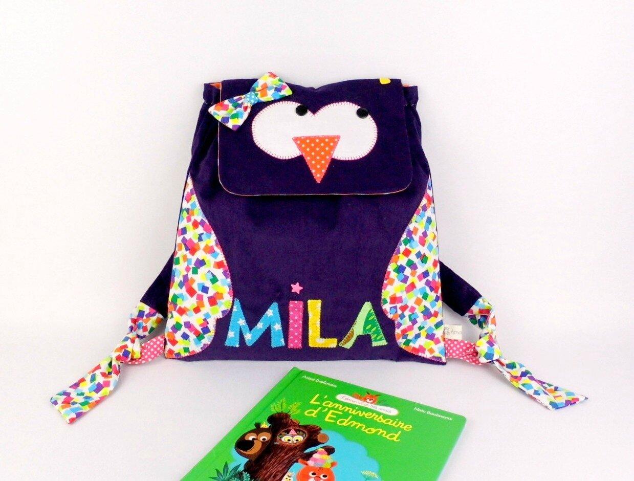 Sac enfant hibou personnalisé prénom sac à dos maternelle crèche violet rose