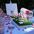 Mariage theme Garden au CHATEAU DE CESARGES table coin des invités avec Urne, Livre d'or, Arbre à empreinte Candy bar (4)
