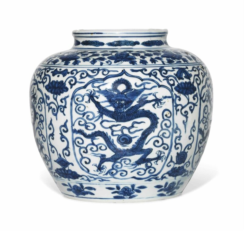 A rare blue and white 'dragon' jar, Wanli six-character mark in underglaze blue within a double circle and of the period