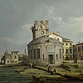 Giovanni antonio canal, called canaletto (venice 1697 – 1768), a venetian capriccio view of an oval church beside the lagoon