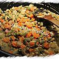 Cornets de jambon et jardinière de légumes au curry