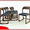 Chaises traineaux vintage 1960 baumann rénovées skaï neuf