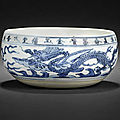 A rare documentary blue and white alms bowl; dated wanli 32nd year, corresponding to ad1605 and of the period