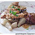 Pintade en 2 cuissons, sauce au vin rouge, topinambours et champignons