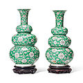 A pair of famille verte triple-gourd vases, kangxi peiod (1662-1722)