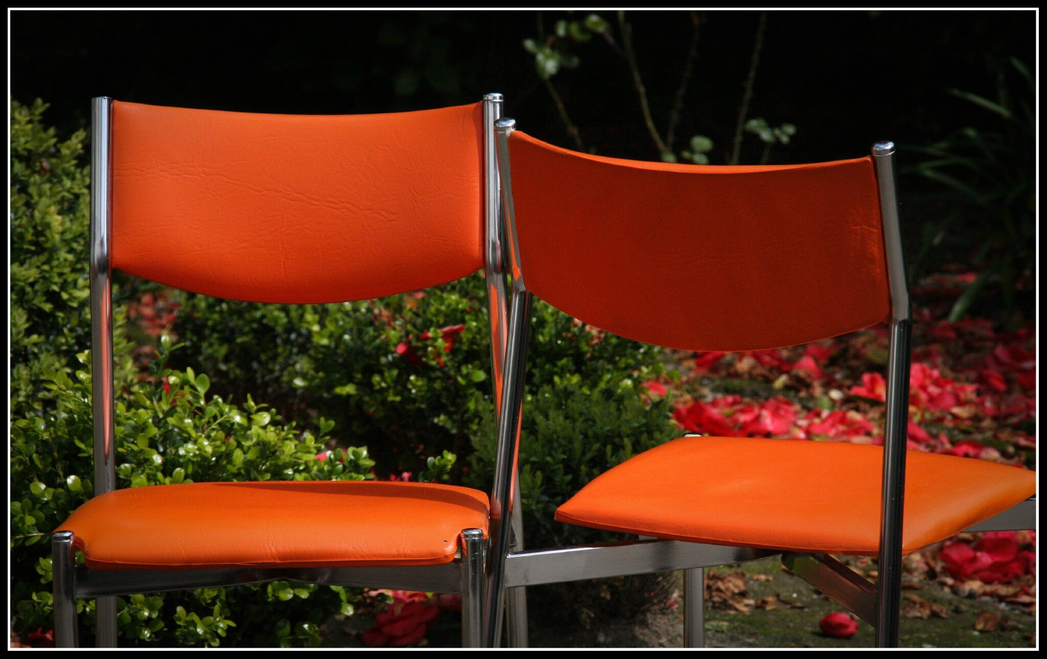 701 chaises vintage 70s skai orange
