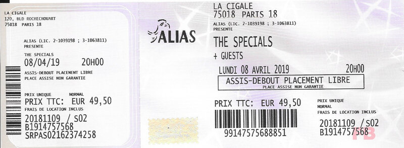 2019 04 08 The Specials Cigale Billet