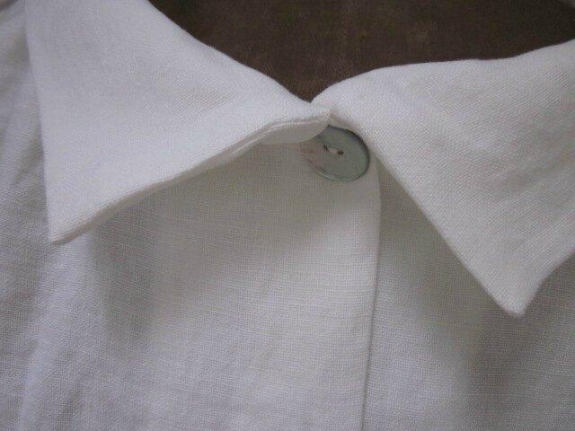 Veste BLANCHE en lin cloqué blanc cassé (9)
