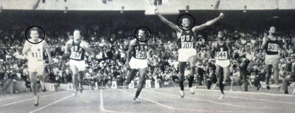 l'arrivée du 200 m à Mexico