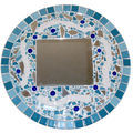 White and blue mosaic mirror