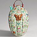 A very rare celadon-ground famille-rose wine warmer and cover, qing dynasty, early 19th century