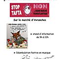 Samedi 18avril 2015, mobilisation générale pour la journée mondiale d'action contre tafta et ceta - action à avranches