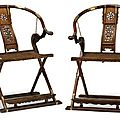 Pair of chinese huanghuali folding horseshoe chairs, late qing-republic