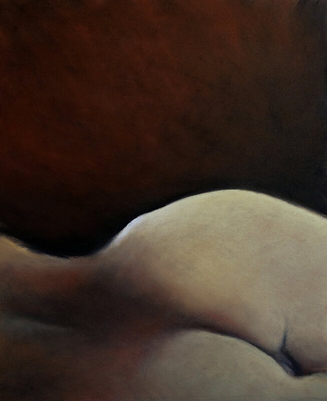Red sleep, fev 2018, pastel à l'huile, 32 x 38 cm