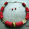 Collier ethnique rouge et laiton