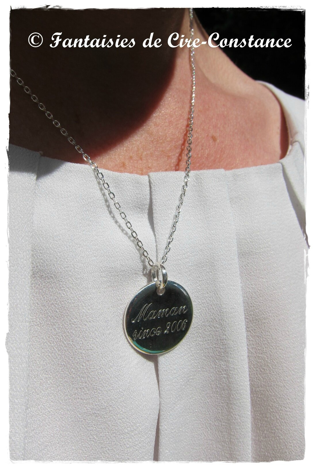Collier argent massif Maman since ...