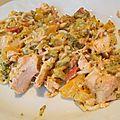 Wok de saumon, tomate et brocoli