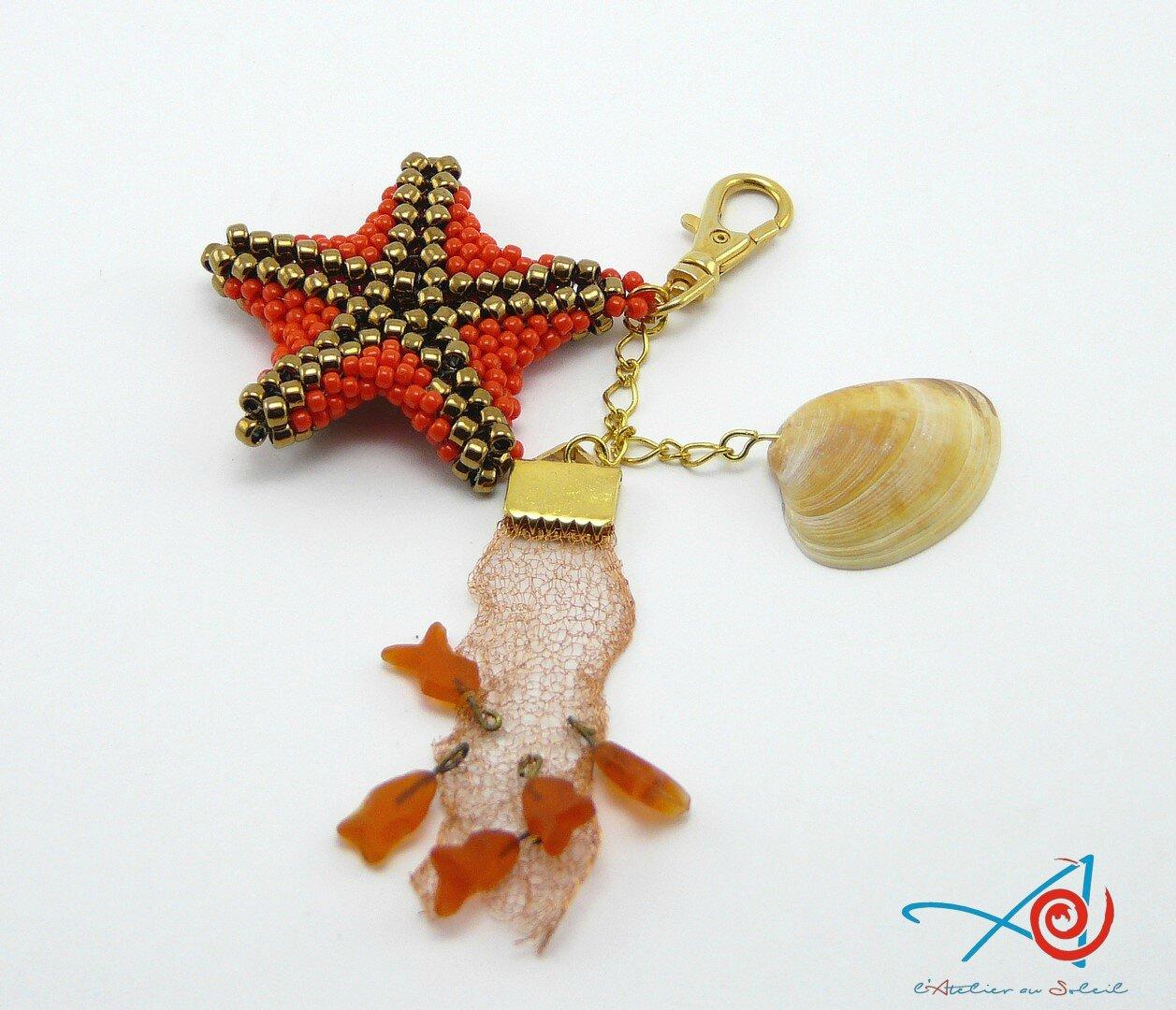 Bijou de sac Etoile de mer orange