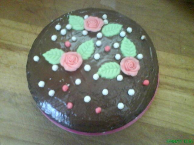 moelleux chocolat déco rose en sucre