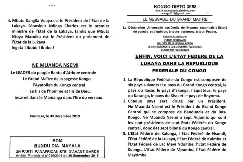 ENFIN VOICI L'ETAT FEDERE DE LA LUKAYA DANS LA REPUBLIQUE FEDERALE DU CONGO a
