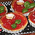 Tartelettes sablees au fondant fraises et basilic
