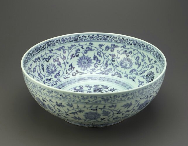 Bowl, Ming dynasty, Hongwu reign (1368-1398). Porcelain with cobalt decoration under colorless glaze.H: 15.7 W: 41.0 cm, Jingdezhen, China. F1951.3. Freer/Sackler © 2014 Smithsonian Institution
