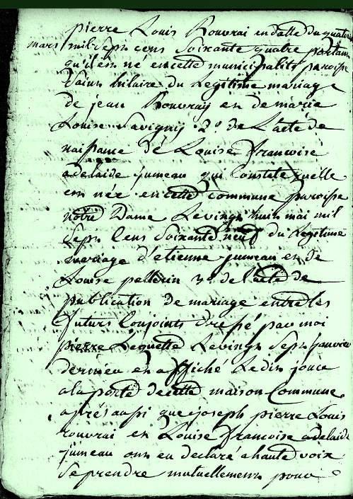 93-02-05 2 Joseph Pierre Louis Rouvray et de Louise Françoise Adélaïde Jumeau vue 2