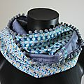 Snood double-tour graphique bleu