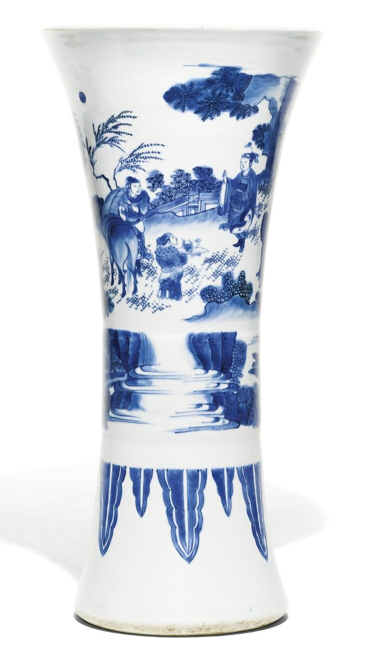 A blue and white beaker vase, gu, Ming Dynasty, Chongzhen Period