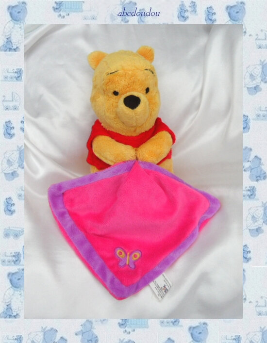 Doudou Peluche Winnie L'Ourson Assis Couverture Rose Et Violet Papillon Nicotoy Disney