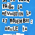 Si tu veux faire la révolution le 17 novembre : brûle ta voiture !