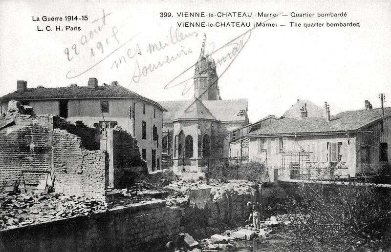 Vienne-le-Château, quartier bombardé