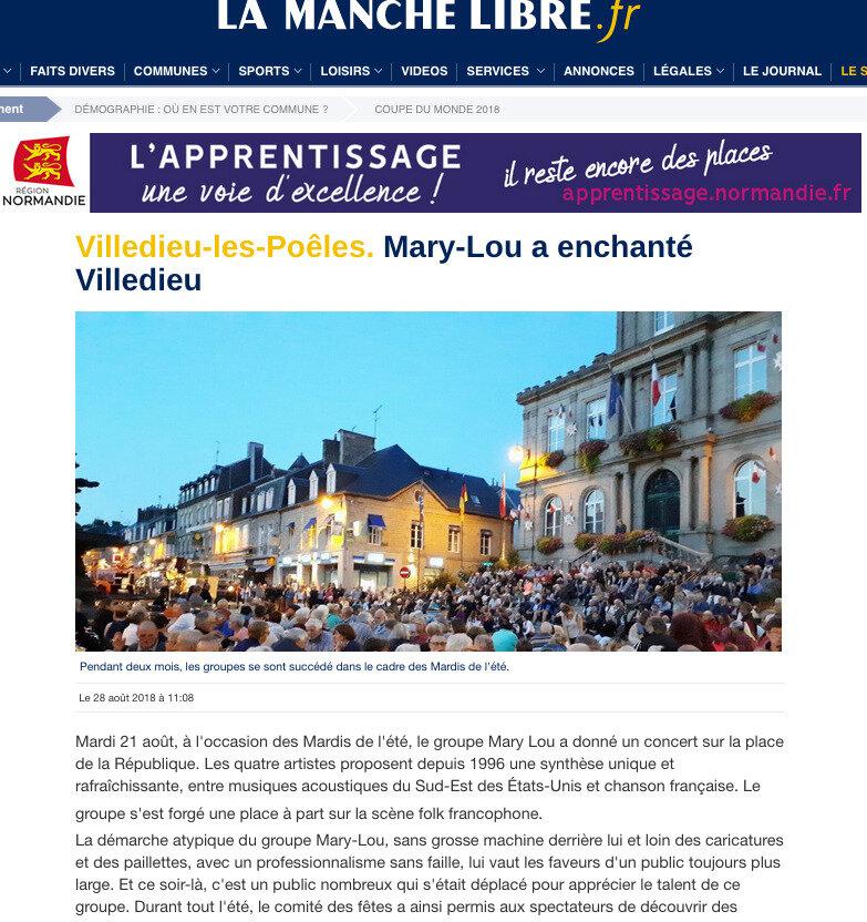 La Manche Libre : Mary-Lou a enchanté Villedieu